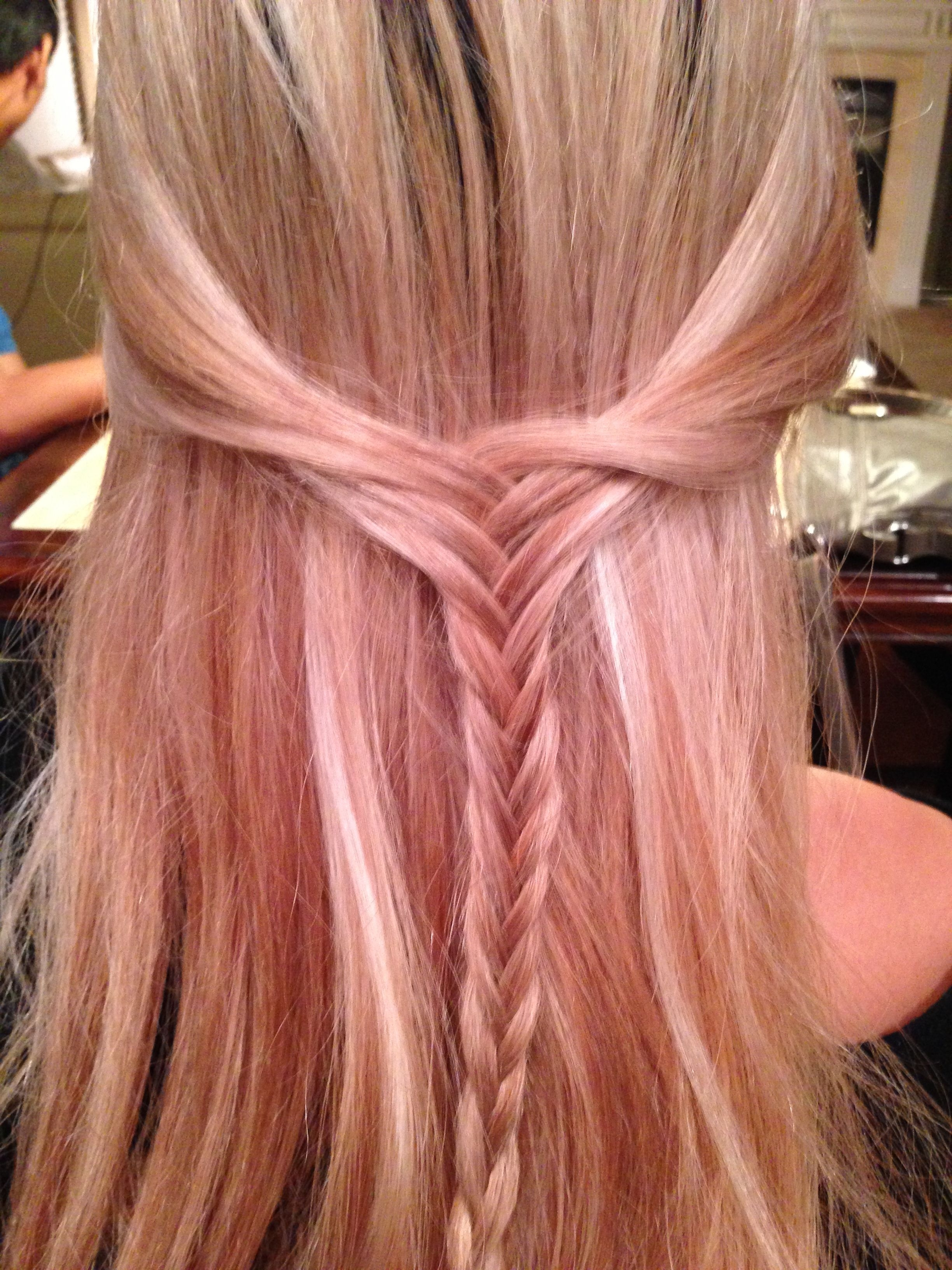 Fishtail Braid, Hair Half Up And Half Down, Wheat Blonde Hair With Throughout Most Current Wheat Blonde Hairstyles (View 10 of 20)