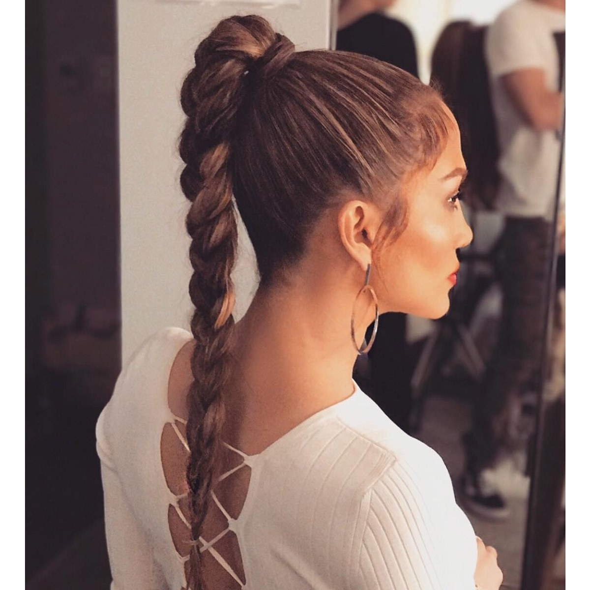 Glamour Inside Popular Side Pony Hairstyles With Fishbraids And Long Bangs (Gallery 7 of 20)