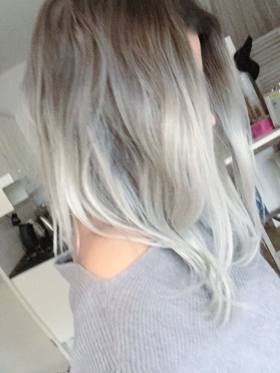 Grey / Silver Hair: Dark Grey Roots And Light Silver, Platinum Regarding Most Current Grayscale Ombre Blonde Hairstyles (View 8 of 20)
