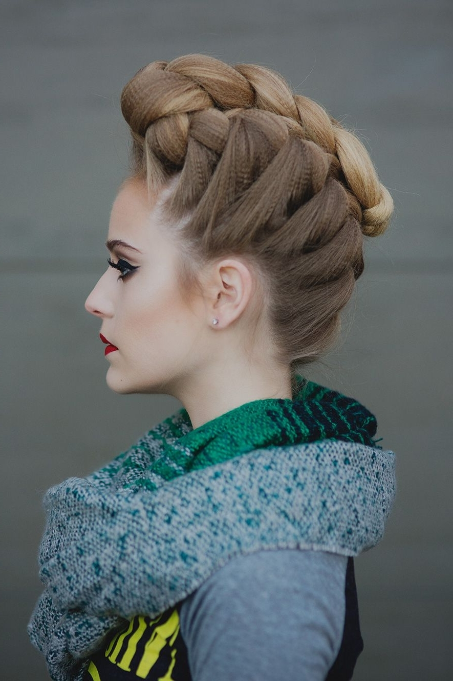 Featured Photo of Curly Pony Hairstyles With A Braided Pompadour
