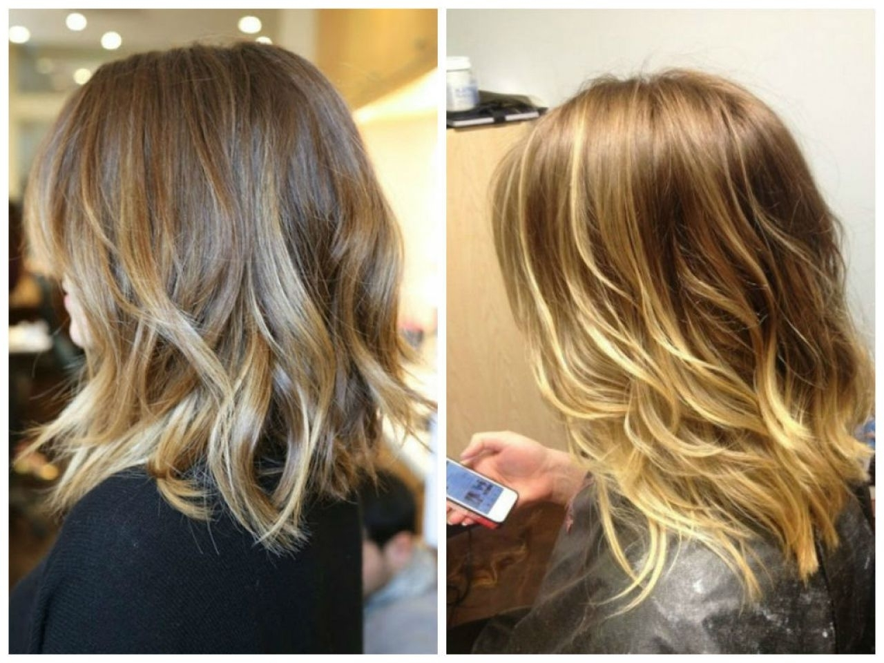 Hair Color : Dark Blonde Ombre Medium Hair Platinum Brown To Length Inside Current Blonde Ombre Waves Hairstyles (View 17 of 20)
