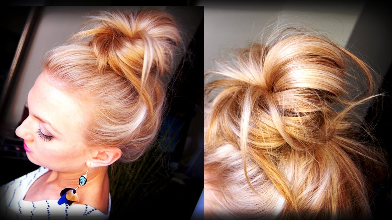 Hair How To: Messy Topknot Bun – Youtube Inside Most Popular Loose Messy Ponytail Hairstyles For Dyed Hair (View 9 of 20)