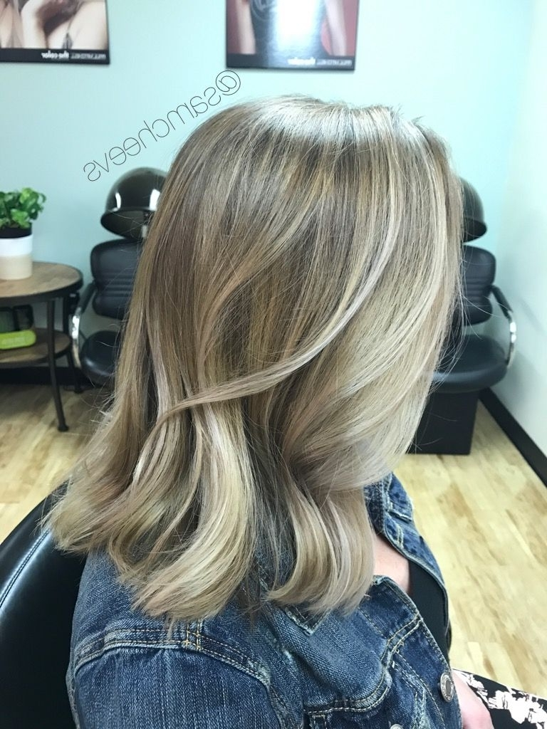 Haircuts For Medium Length Hair / Long Bob / Ash Pale Neutral Sandy For Newest Soft Ash Blonde Lob Hairstyles (View 10 of 20)