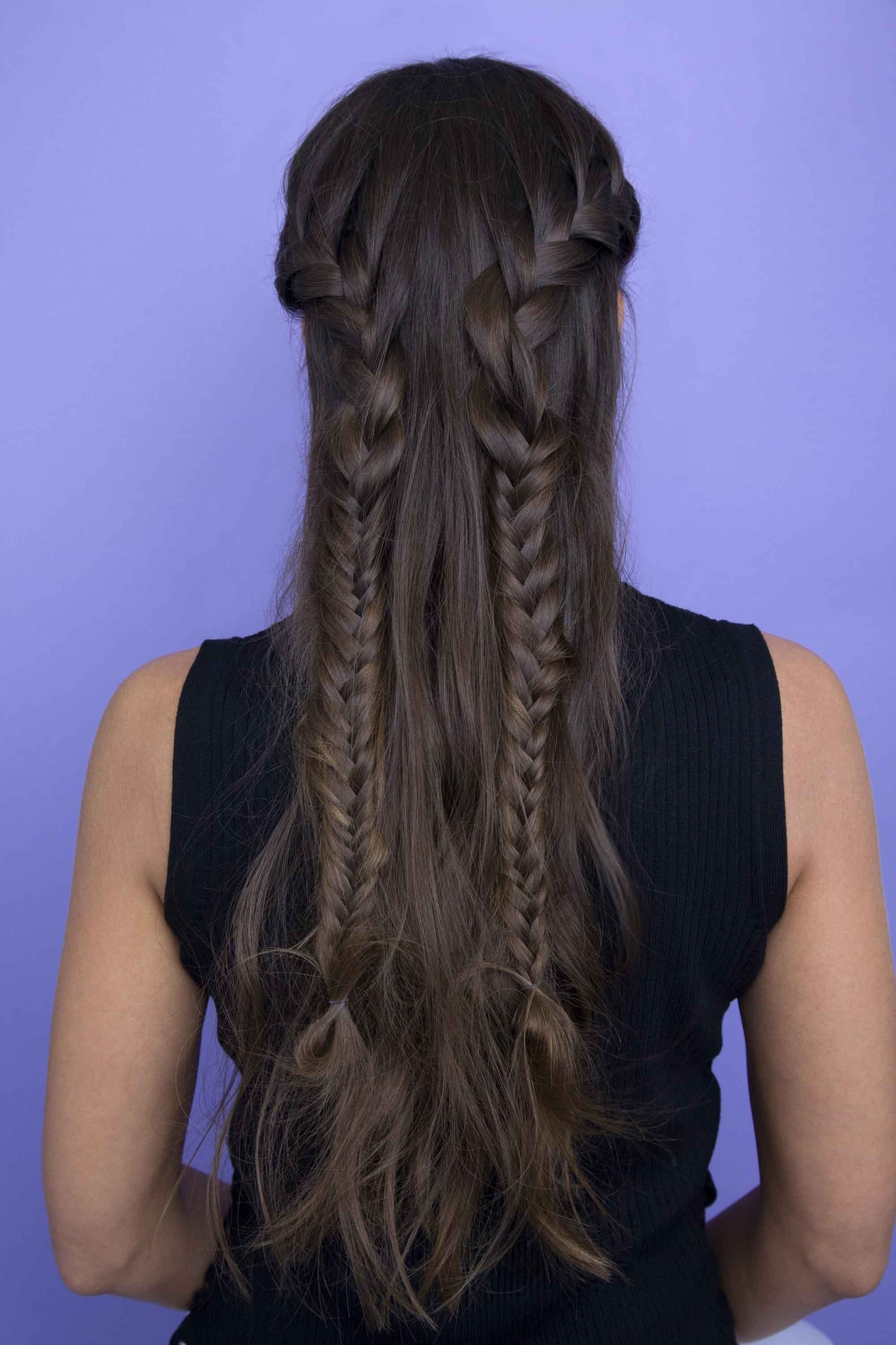 Half Braided Hairstyles: 44 Pretty, Super Flattering Looks Throughout Most Popular Reverse French Braids Ponytail Hairstyles With Chocolate Coils (View 7 of 20)