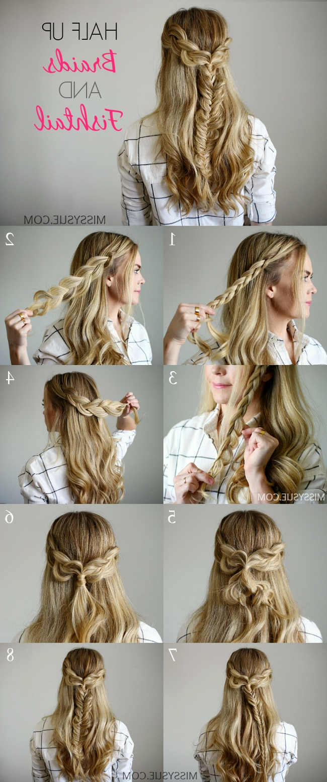 Half Up Braids And Fishtail Inside Trendy Wispy Fishtail Hairstyles (View 10 of 20)