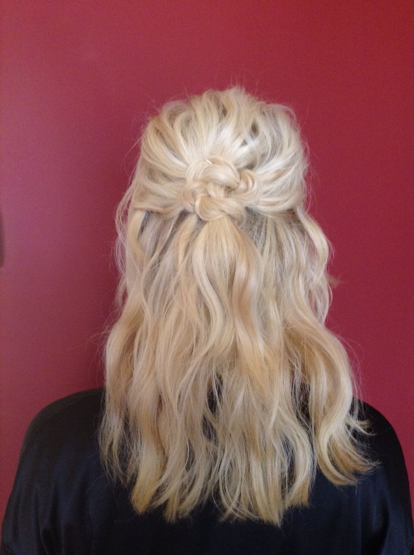 Half Up Half Down Bridesmaid Celtic Knot Blonde Beach Waves Updo With Regard To Most Current Beachy Half Ponytail Hairstyles (View 15 of 20)