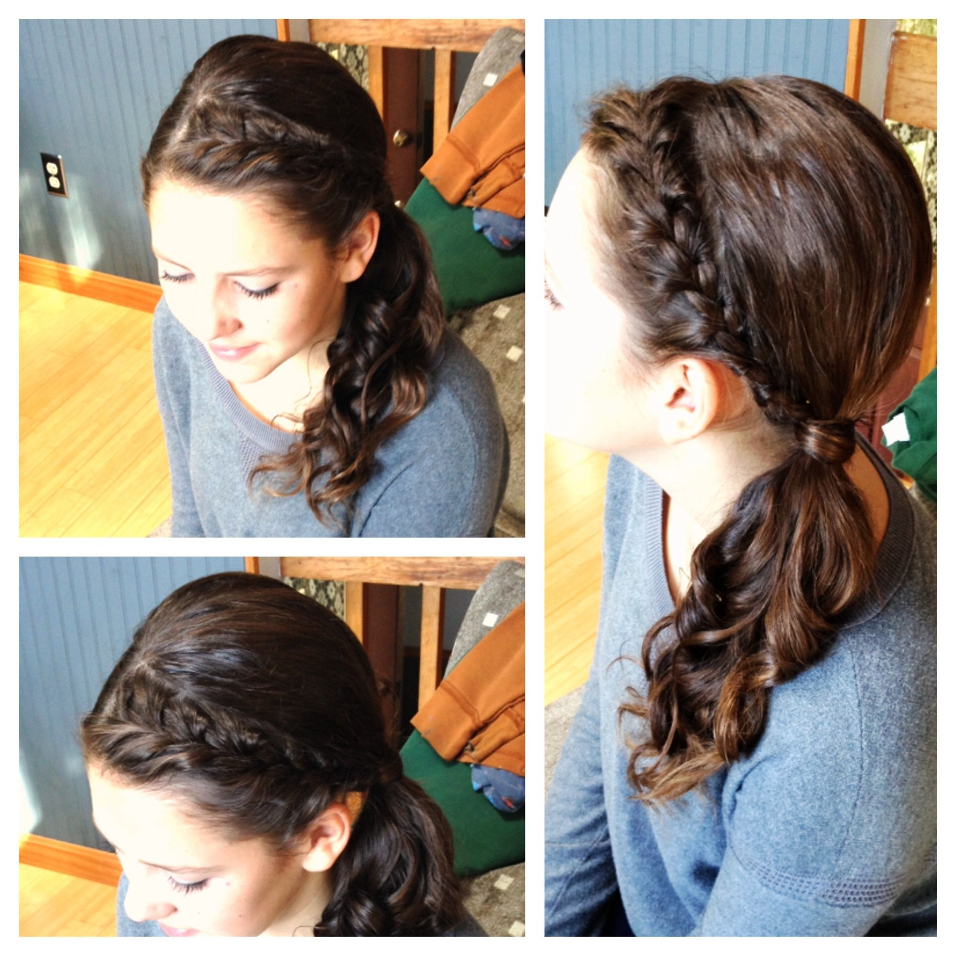 Headband French Braid Into A Side Ponytail With Curls (View 12 of 20)