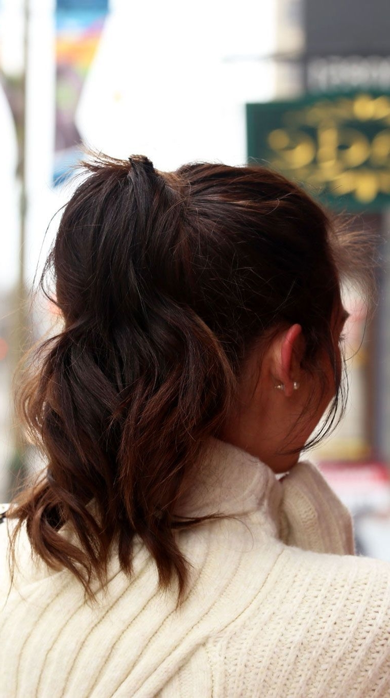 High Ponytail Hairstyle With Wavy Hair And Ombre Dark Brown (View 10 of 20)