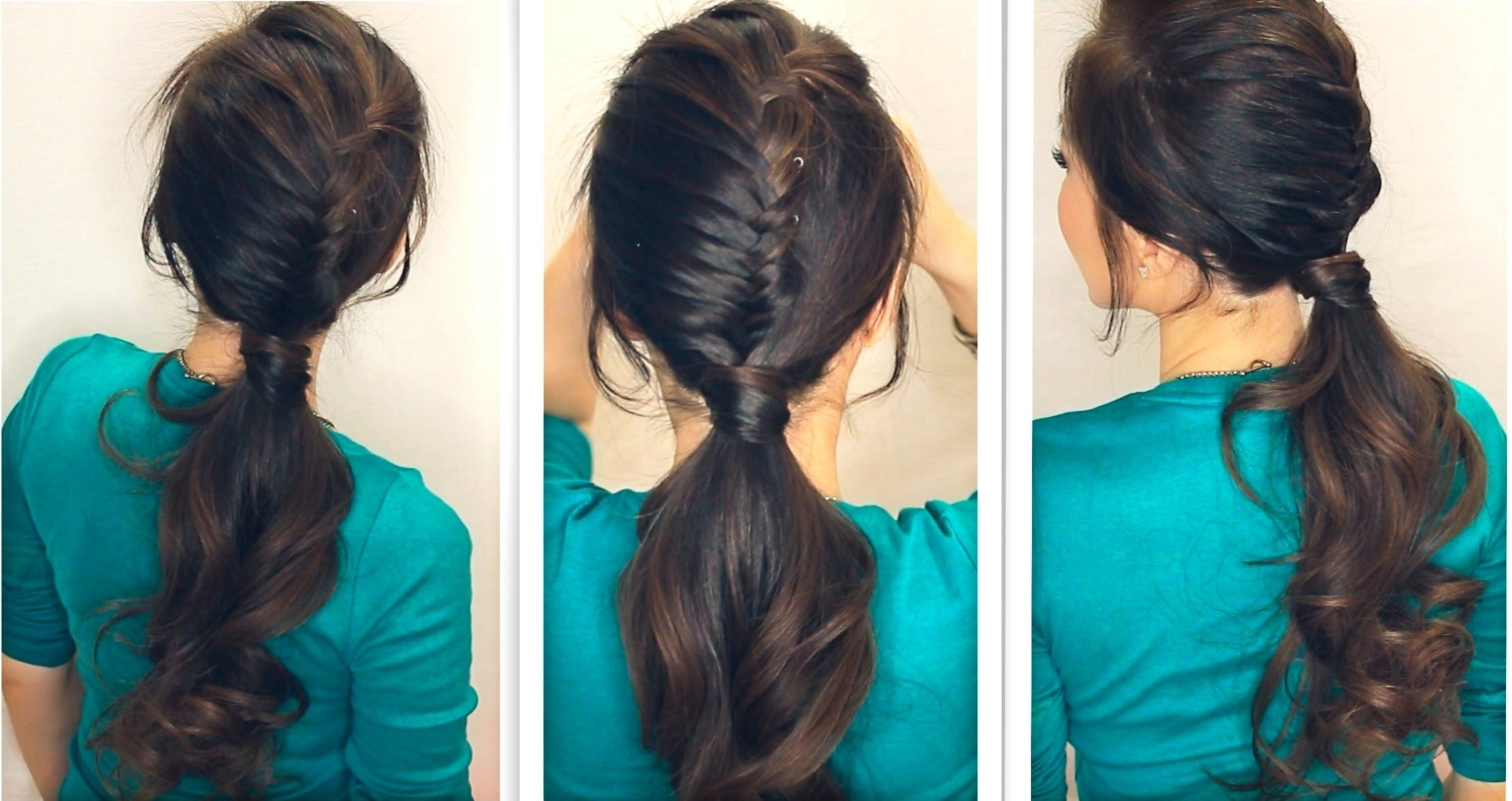How To Create A Half, French Fishtail Braid, Fancy Ponytail With Regard To Well Known Half French Braid Ponytail Hairstyles (View 12 of 20)