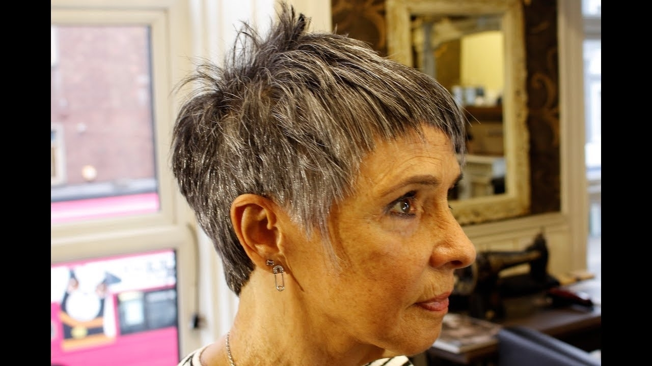 How To Cut Short Funky Pixie Hair On Grey Hair Textured Crop Choppy For Preferred Choppy Gray Pixie Hairstyles (View 12 of 20)
