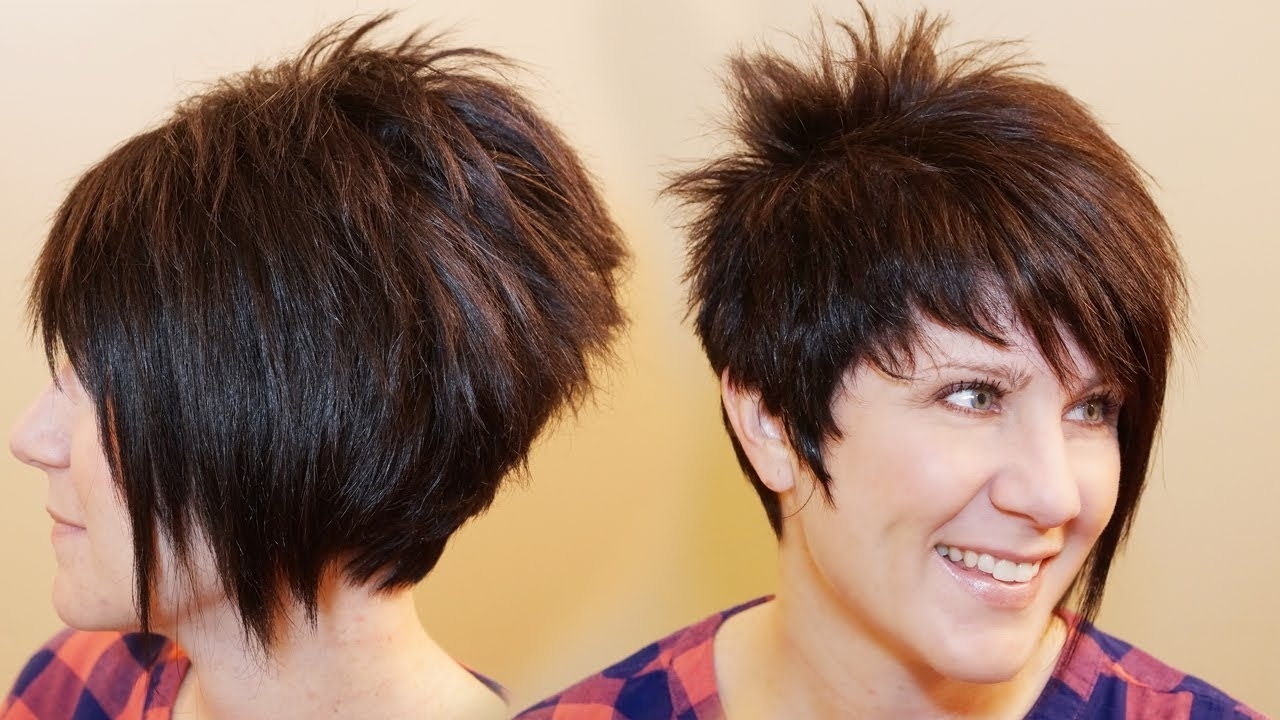 How To Cut Womens Hair // Short Pixie Assymetrical A Line Haircut Intended For Famous Stacked Pixie Bob Hairstyles With Long Bangs (View 7 of 20)