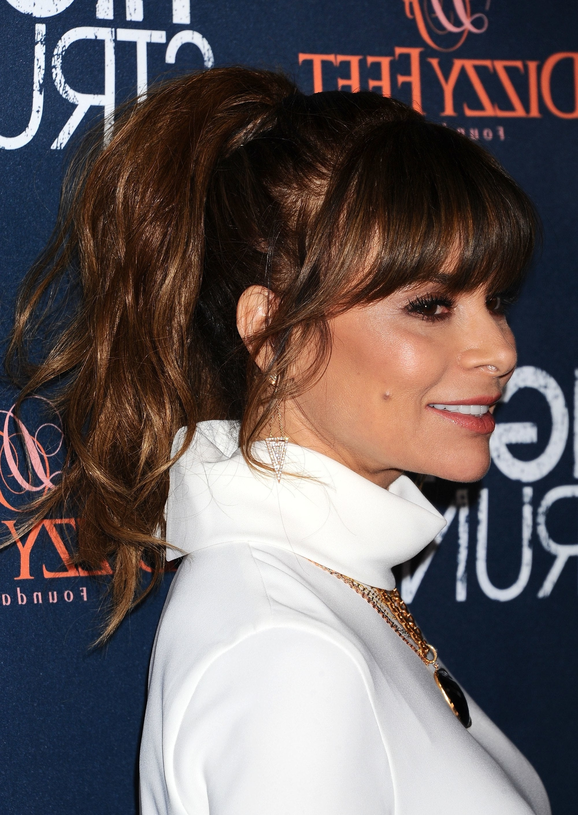 20 Photo Of High Messy Pony Hairstyles With Long Bangs
