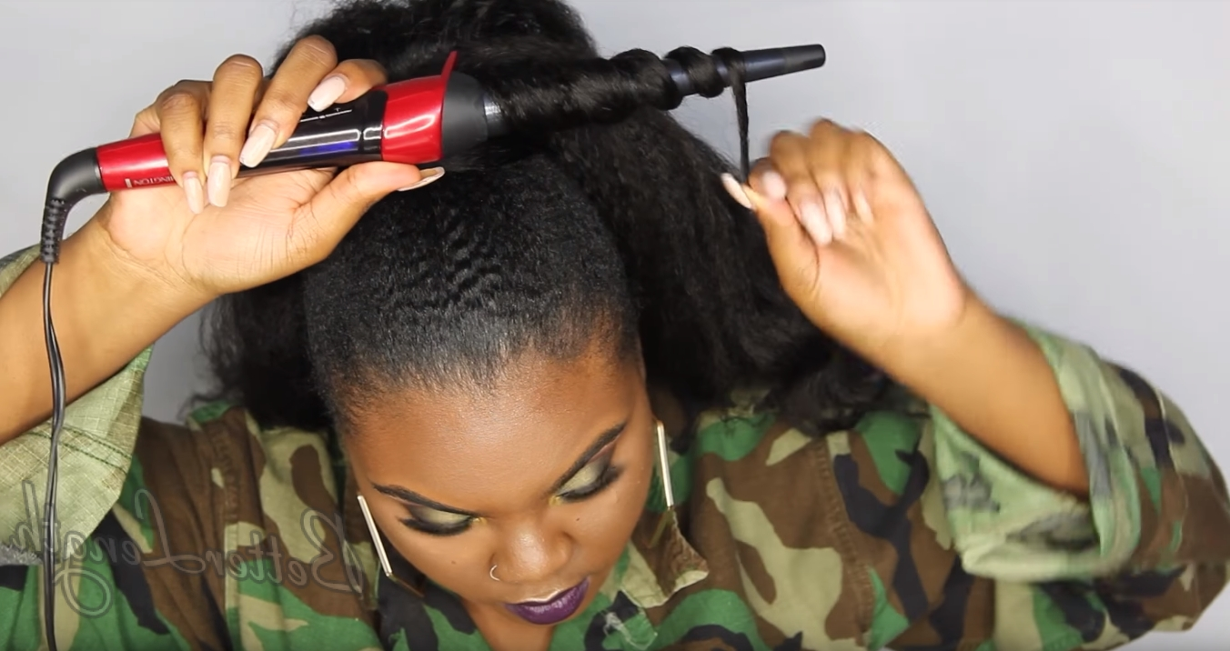How To Do A Rihanna Inspired Loose High Ponytail On Short 4C Natural Throughout Most Popular High Black Pony Hairstyles For Relaxed Hair (View 11 of 20)