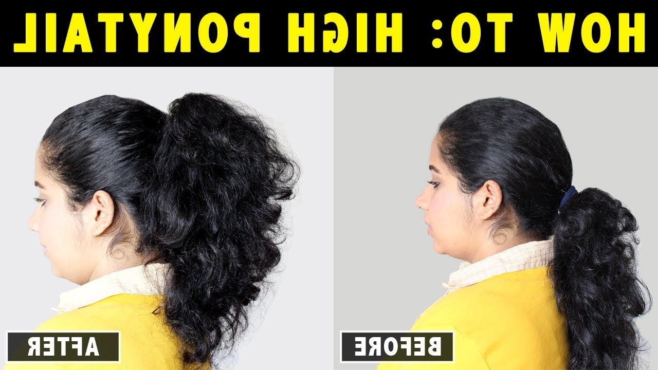 How To: High Ponytail On Curly, Wavy & Frizzy Hair Easily In 2 Within Well Known Easy High Pony Hairstyles For Curly Hair (View 11 of 20)