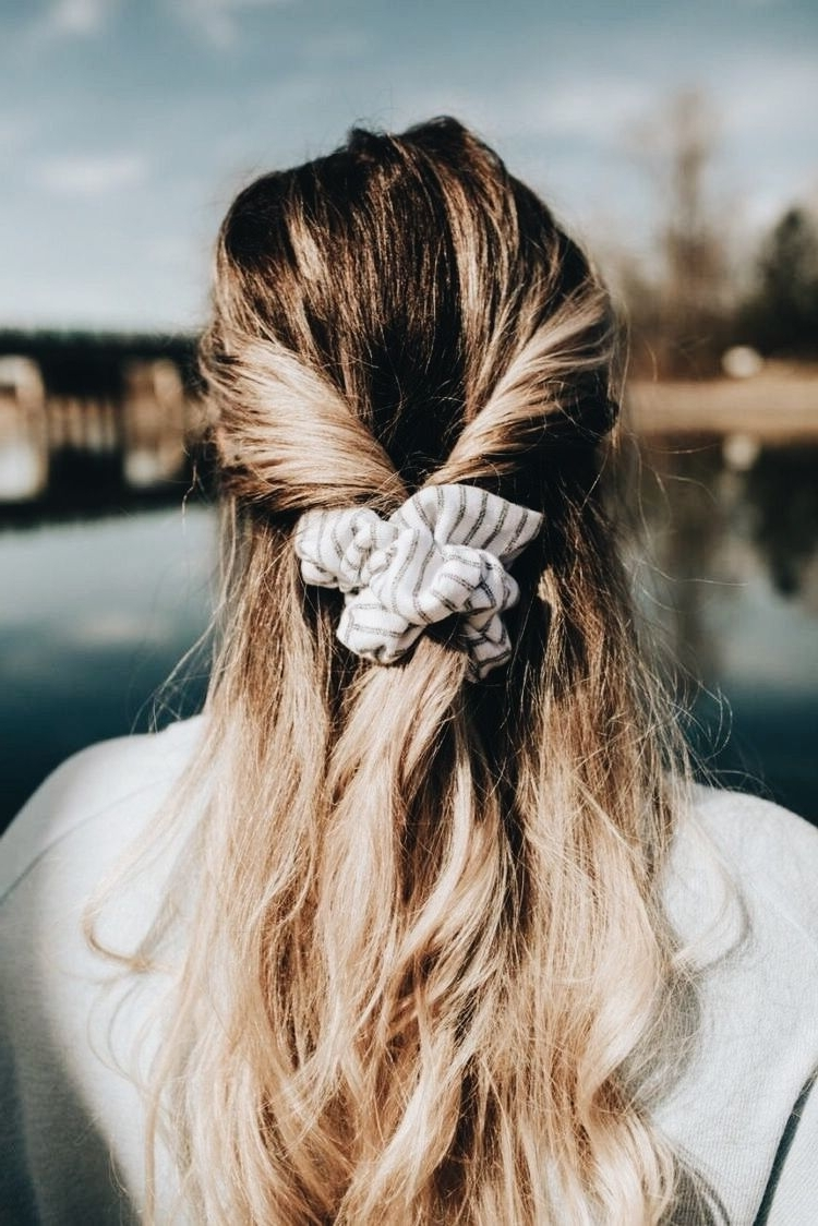 How To Wear A Scrunchie; Half Up Half Down Hair Style With A Intended For Most Popular Half Updo Blonde Hairstyles With Bouffant For Thick Hair (View 14 of 20)