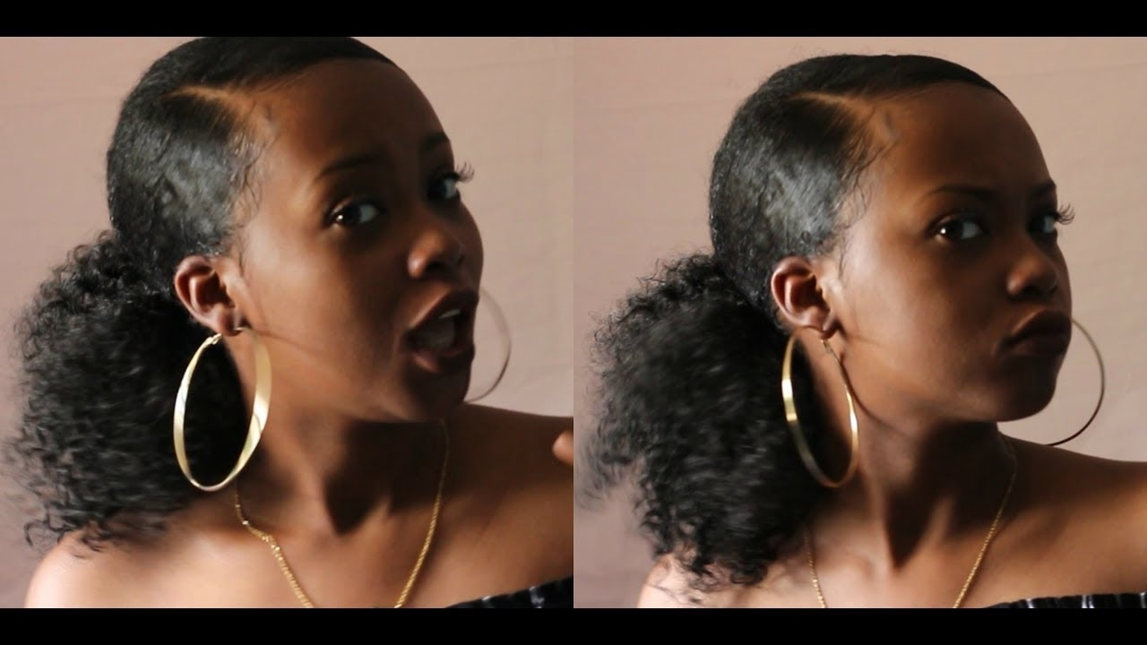 """How To"""" Weave Ponytail Hairstyle For Black Hair – Youtube Regarding Favorite Afro Style Ponytail Hairstyles (View 10 of 20)"""