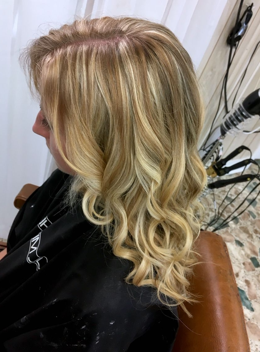 Icy Blonde Foiled Highlights Over Natural Brown Hair With Sun Kissed Pertaining To Most Up To Date Loosely Coiled Tortoiseshell Blonde Hairstyles (Gallery 6 of 20)