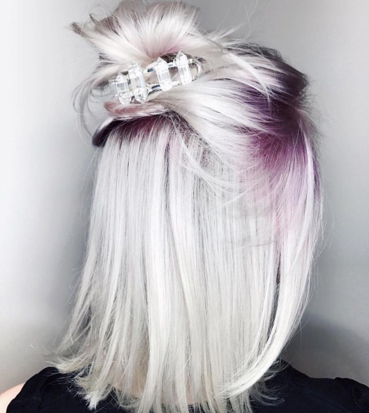 Icy Platinum Blonde Hair With Purple Roots (View 11 of 20)