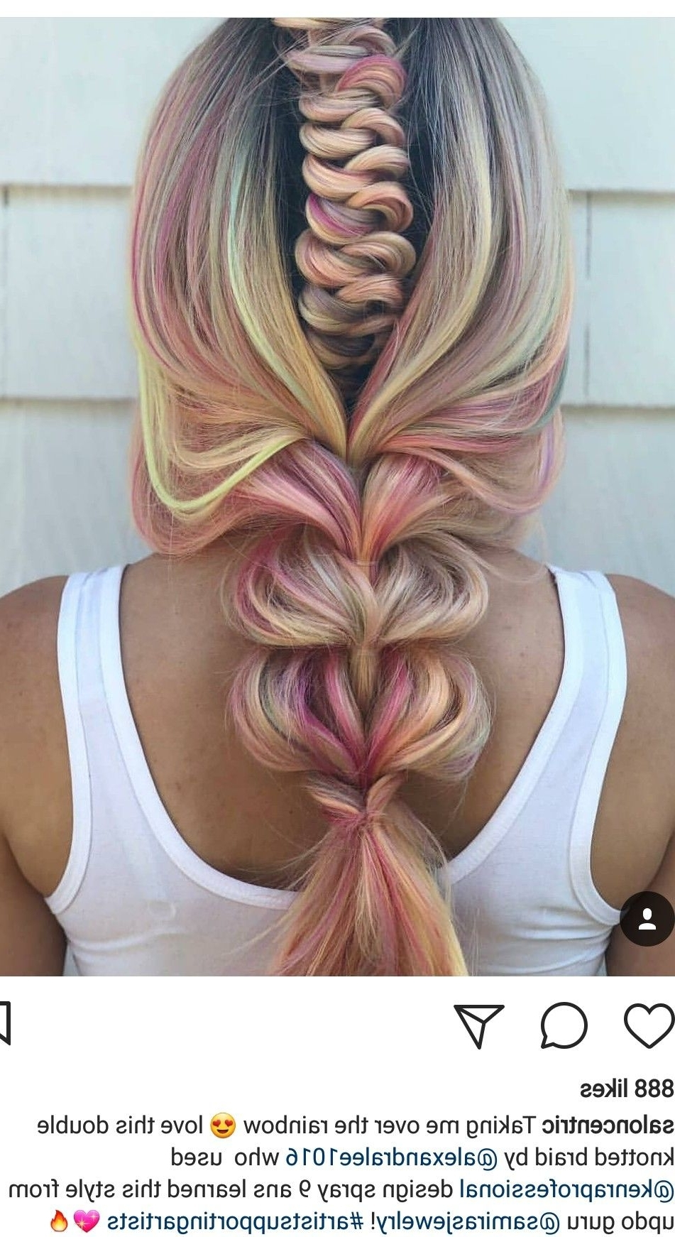 Intricate Braid Within A Braid With Rainbow Colored Highlights Intended For Most Up To Date Intricate Updo Ponytail Hairstyles For Highlighted Hair (Gallery 15 of 20)
