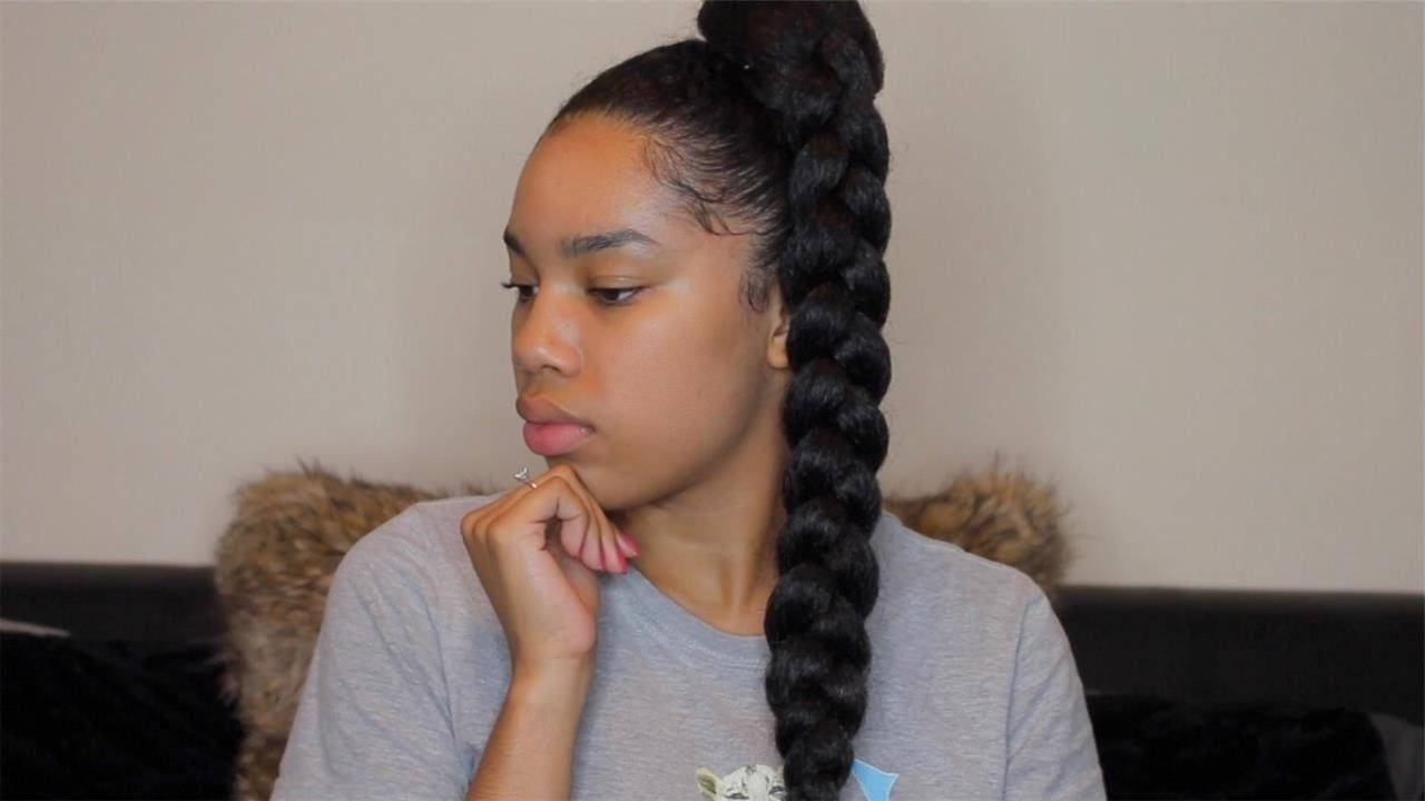 Jumbo Braid Ponytail With Kanekalon Hair – Youtube Regarding Best And Newest Long Braided Ponytail Hairstyles (Gallery 1 of 20)