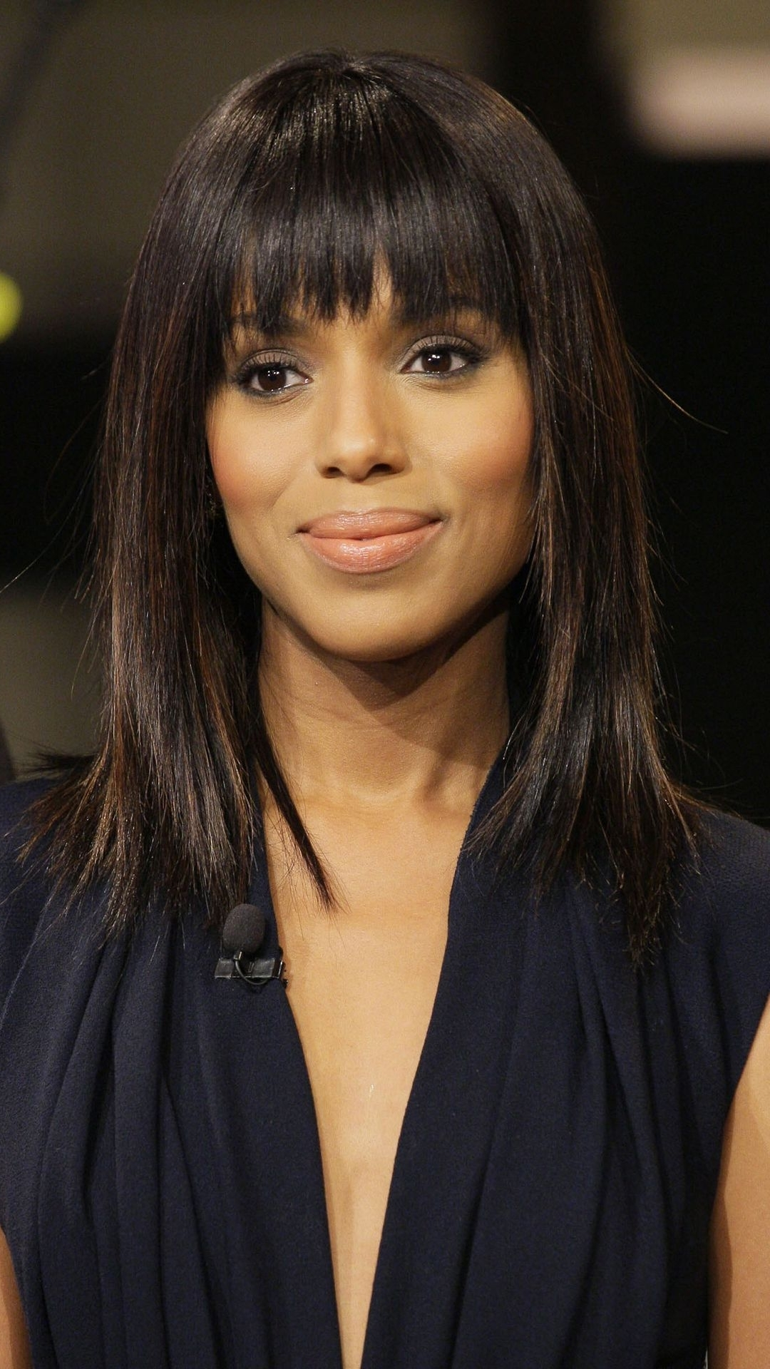 Kerry Washington With Long Layers And Sexy Blunt Bangs (Gallery 1 of 20)