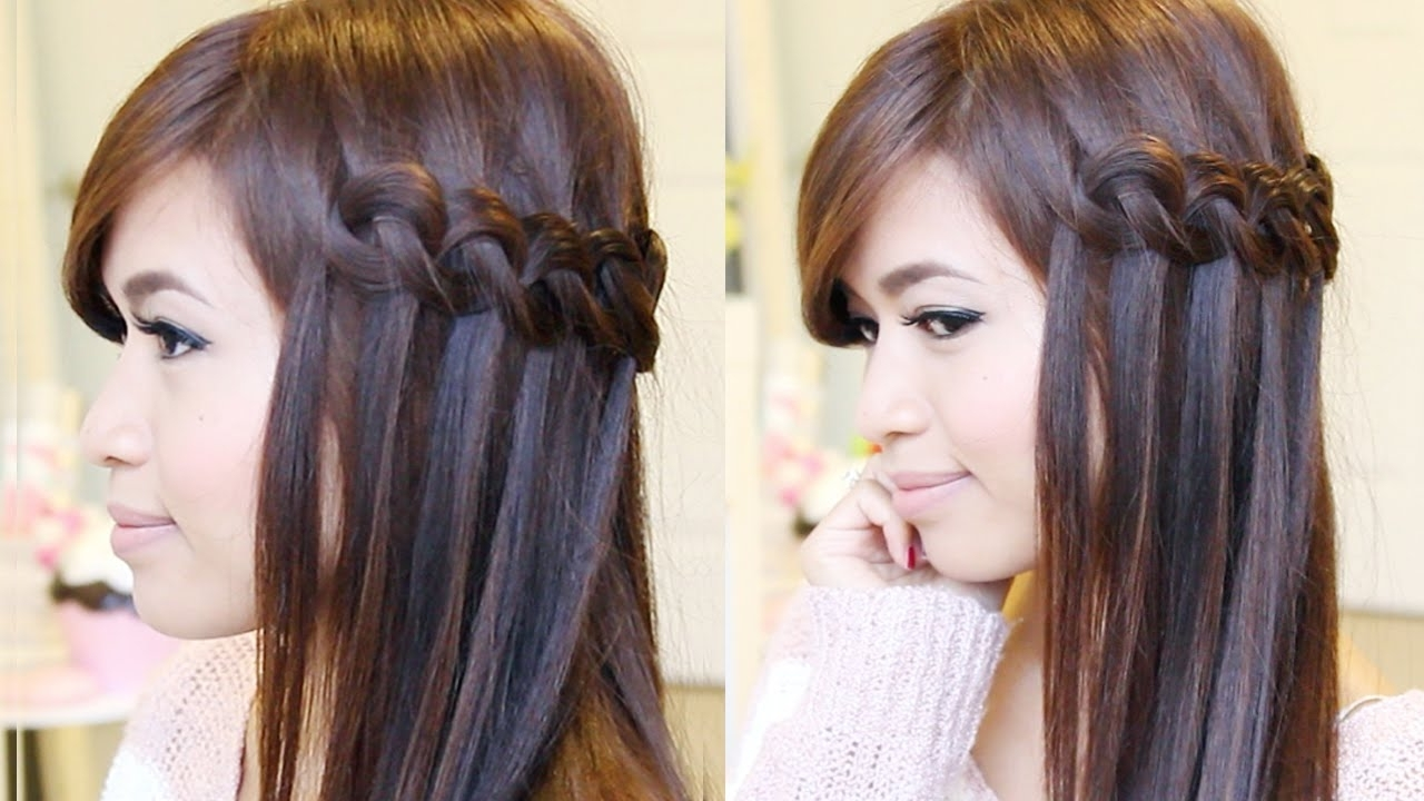 Knotted Loop Waterfall Braid Hairstyle (View 9 of 20)