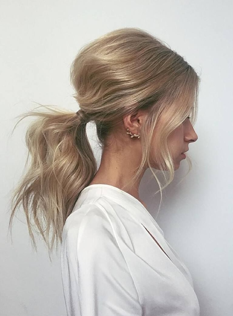 Latest Bouffant Ponytail Hairstyles Within Platinum Blonde Hair With Carmel (View 12 of 20)