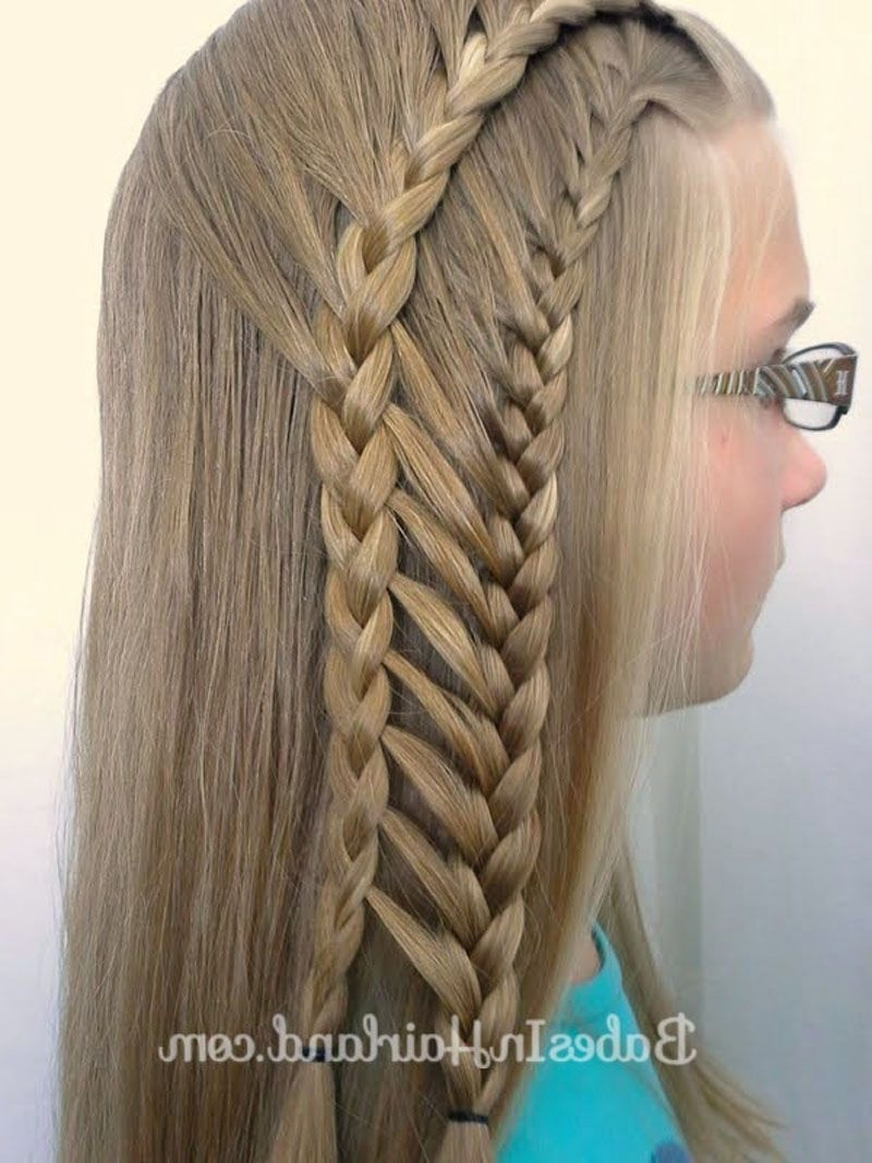 Latest Double Floating Braid Hairstyles With Regard To Double Half French Ladder Braids (View 12 of 20)