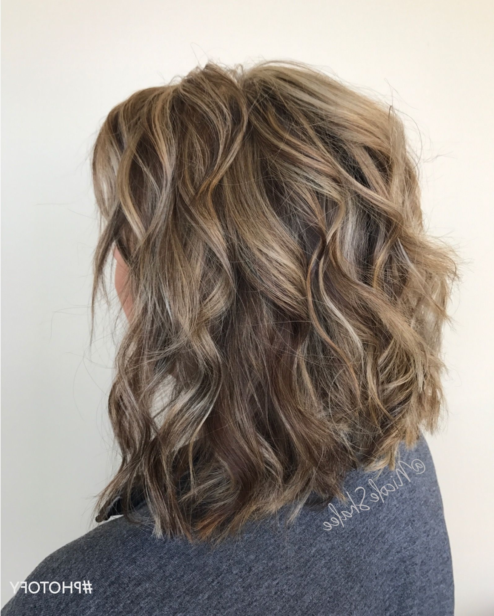 Latest Gently Angled Waves Blonde Hairstyles Pertaining To Lob, Long Bob, Beach Waves, Bronde Hair, Sandy Brown Hair, Sandy (View 10 of 20)