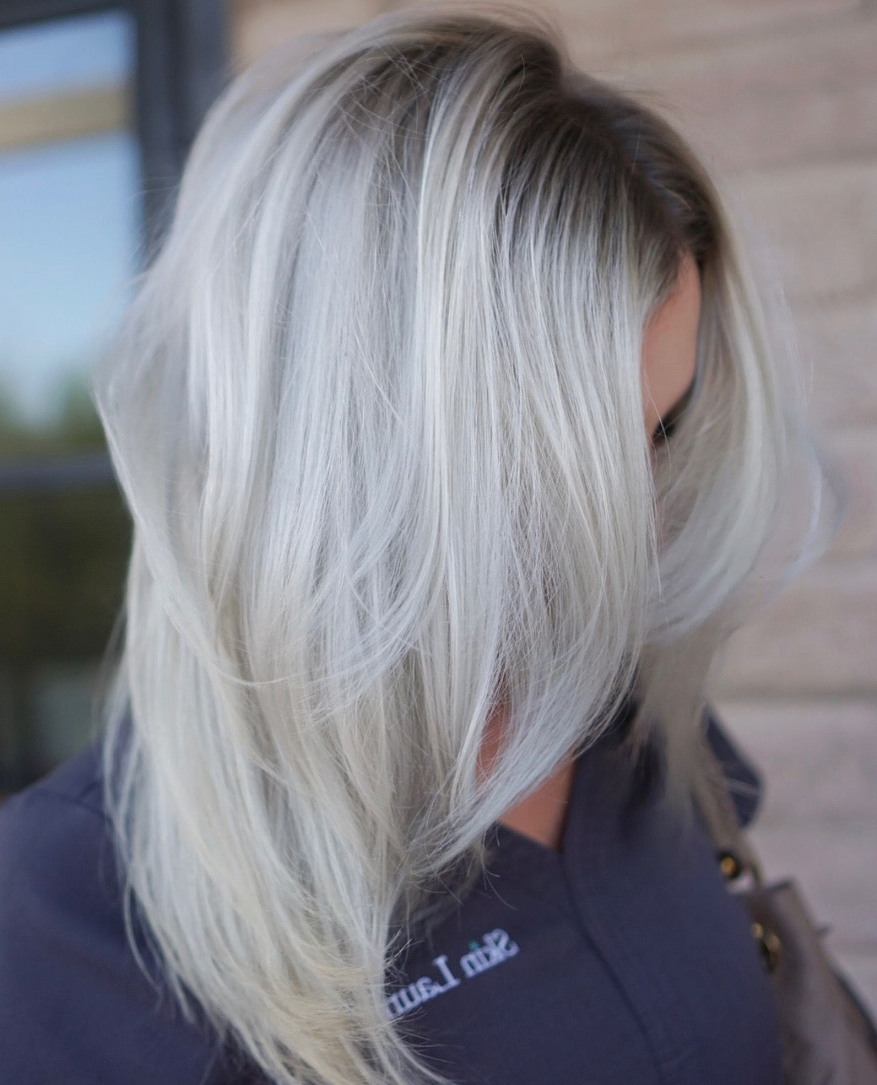 Latest Grayscale Ombre Blonde Hairstyles Regarding Icy Blonde Balayage With A Deep, Ashy Shadow Root— Love The (View 13 of 20)