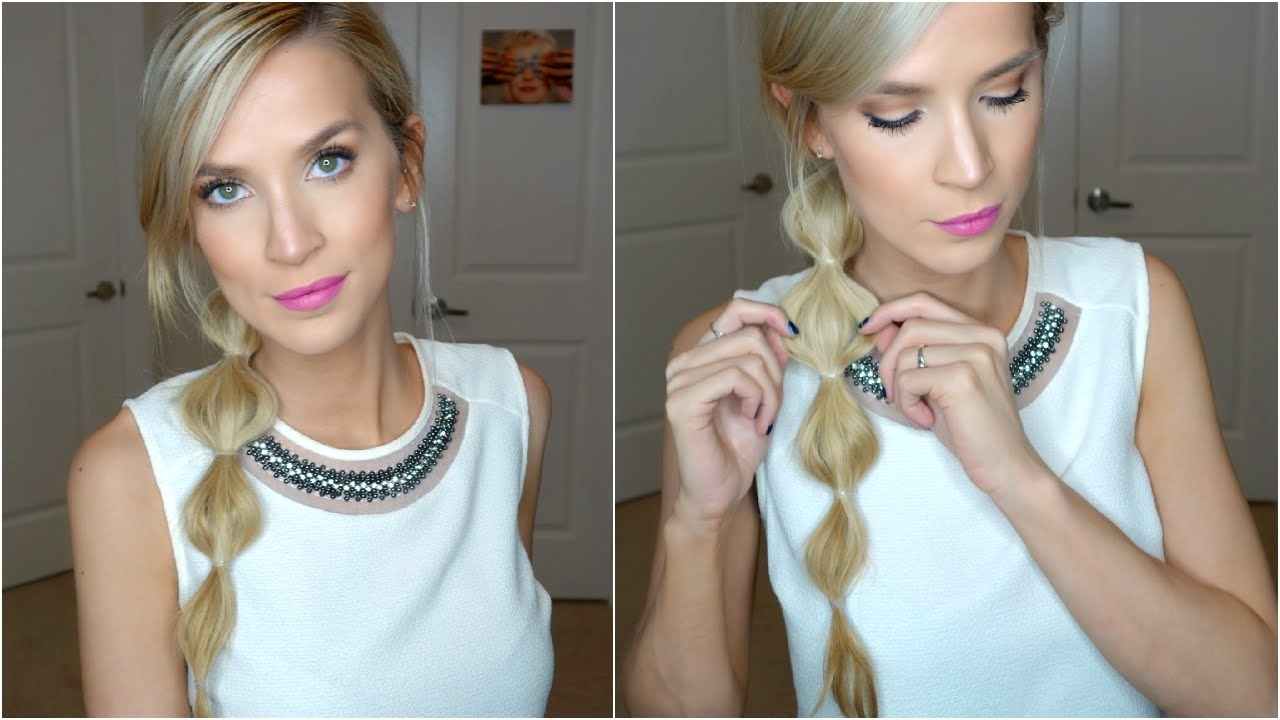 Latest Pebbles Pony Hairstyles Within Easy Side Bubble Ponytail Hair Tutorial – Youtube (View 15 of 20)
