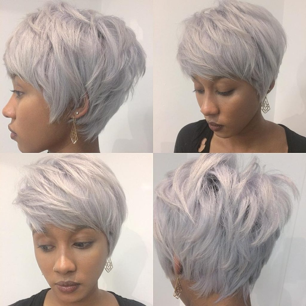Latest Stacked Pixie Bob Hairstyles With Long Bangs For Women's Chic Stacked Silver Pixie With Messy Texture And Feathered (View 8 of 20)