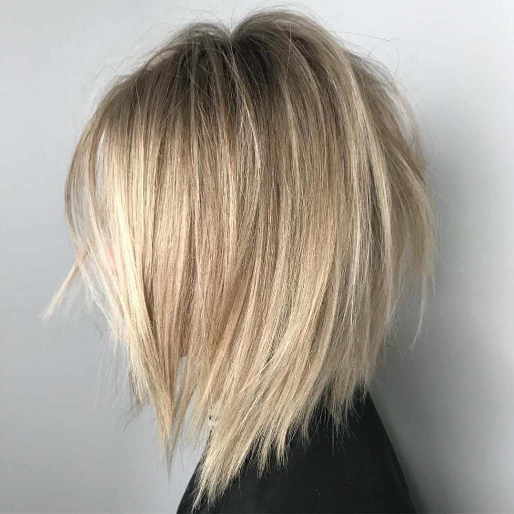 Latest Striking Angled Platinum Lob Blonde Hairstyles Inside 50 Beautiful And Convenient Medium Bob Hairstyles (View 10 of 20)