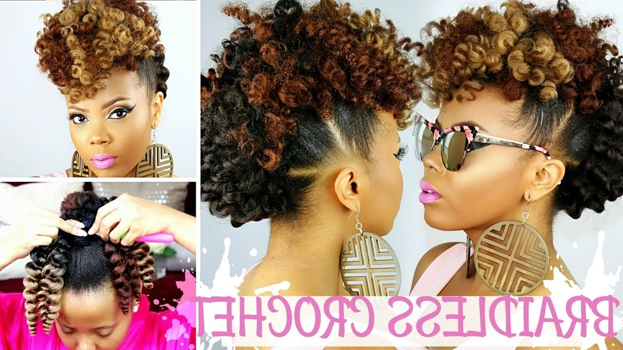 Latest Two Tone High Ponytail Hairstyles With A Fauxhawk With Regard To Braidless Crochet (Gallery 4 of 20)
