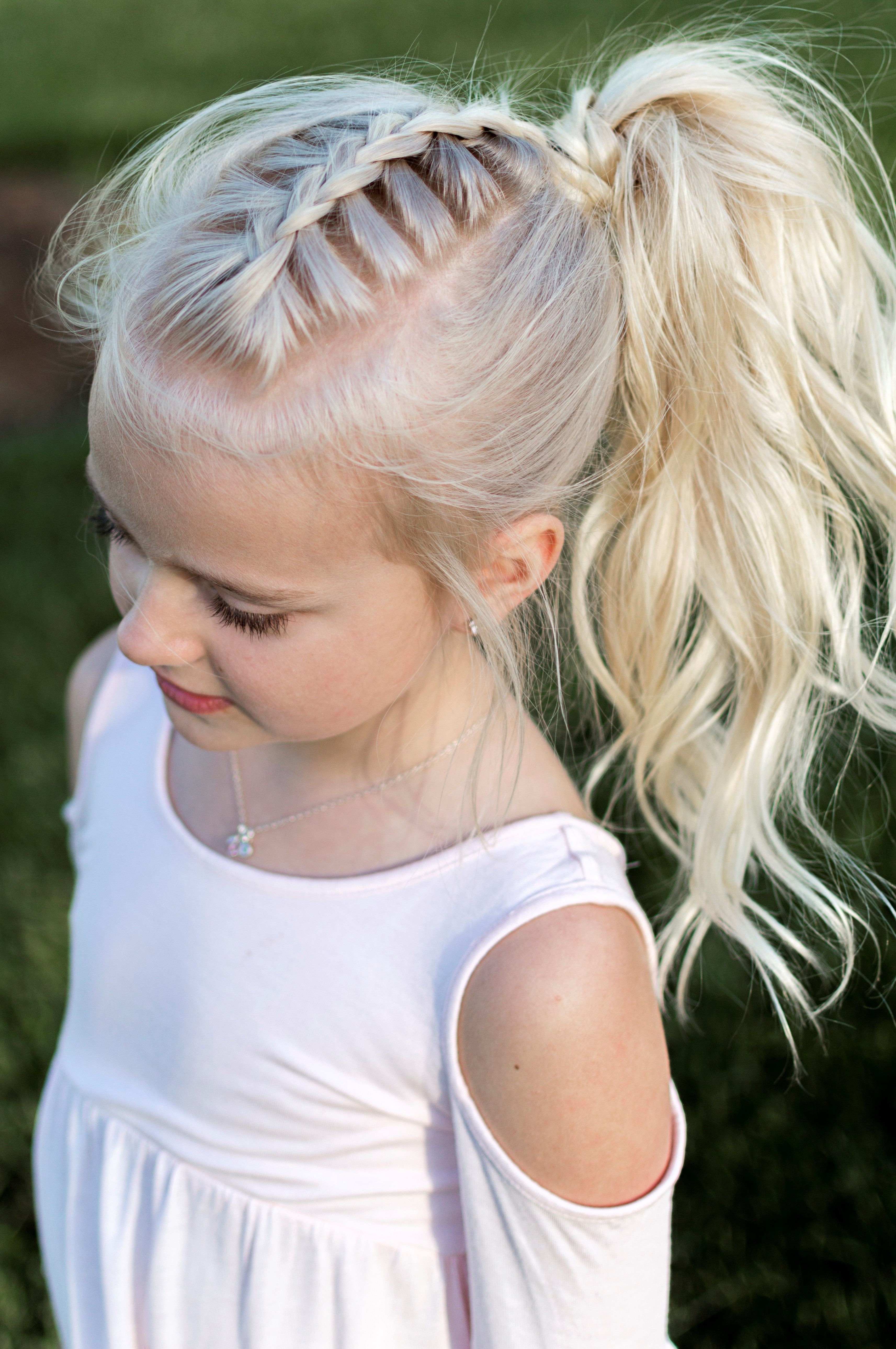 Little Girl Hairstyle French Braid Pony Tail Curls High Pony Regarding Fashionable High And Glossy Brown Blonde Pony Hairstyles (View 14 of 20)