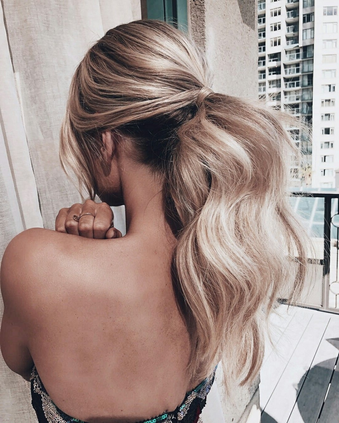Long Hair, Ponytail, Hairstyle, Loose Curls, Ponytail With Curls Intended For Most Up To Date Honey Blonde Fishtail Look Ponytail Hairstyles (View 8 of 20)