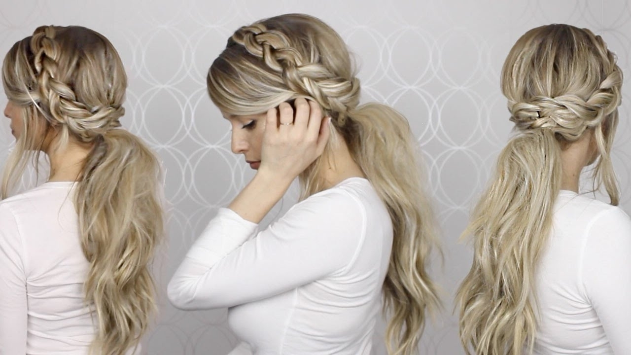 Long Medium Throughout Most Up To Date Pretty Messy Pony Hairstyles With Braided Section (View 2 of 20)