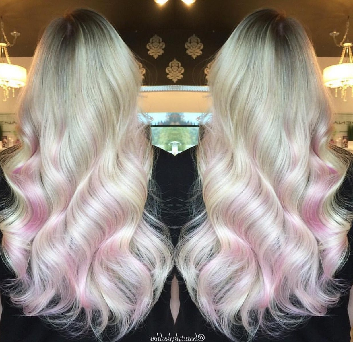 Long Platinum Blonde Locks With Pale Pink Underneath (View 15 of 20)
