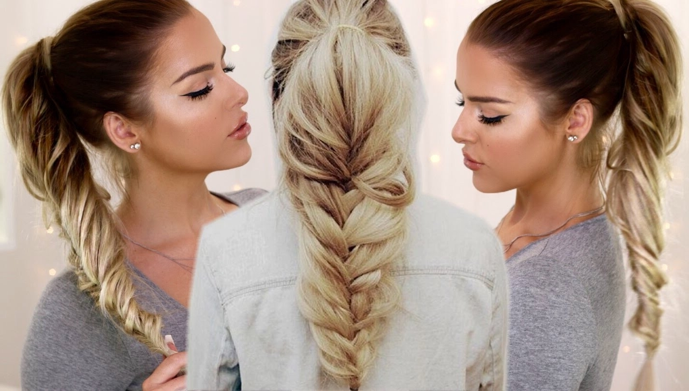 Loose Fishtail Ponytail – Youtube With 2017 Large And Loose Braid Hairstyles With A High Pony (View 14 of 20)