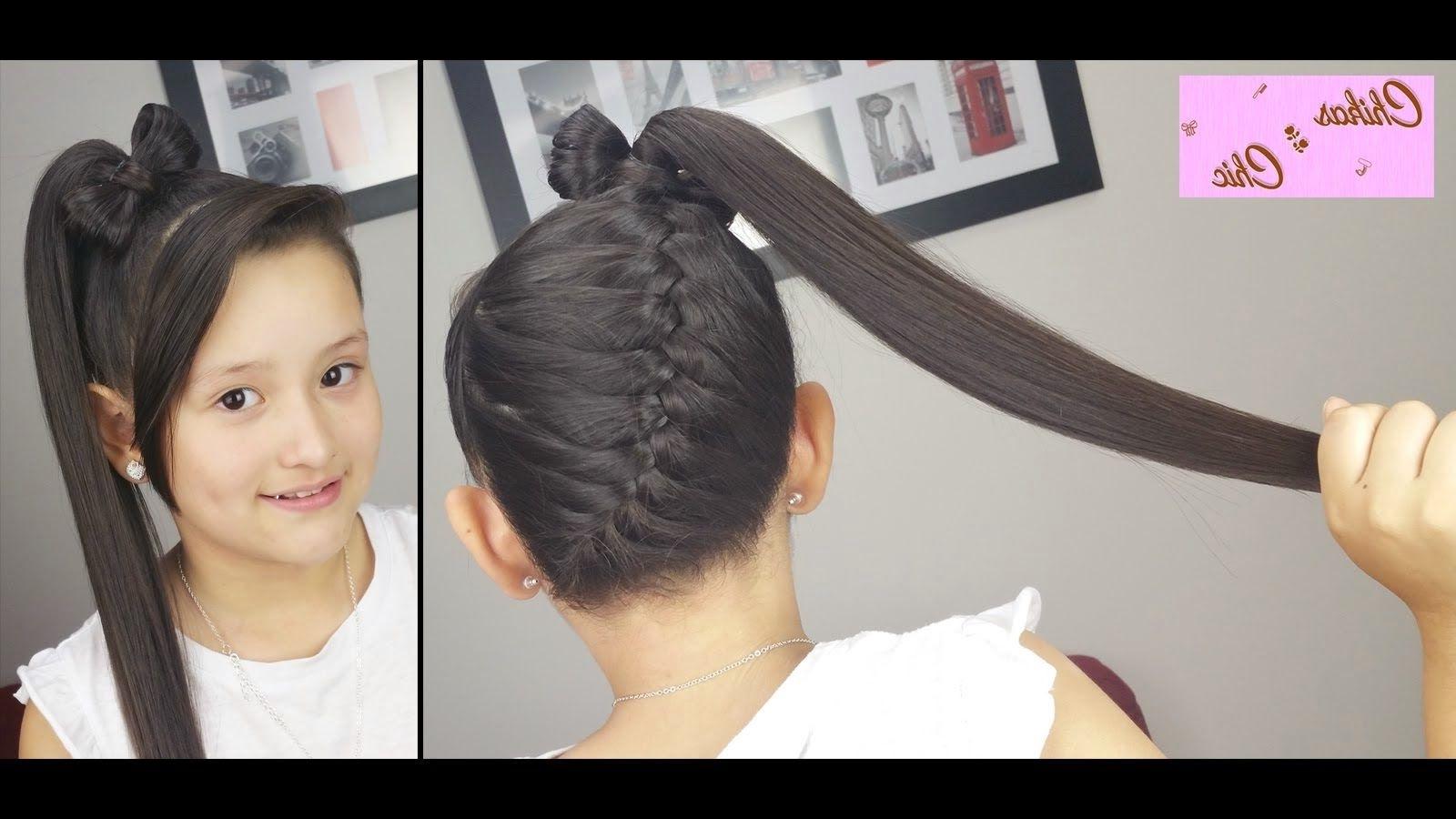 Me Late Chocolate !!: Peinado Con Coleta Con Trenza Diagonal Y Lazo Within 2017 Bow Braid Ponytail Hairstyles (View 12 of 20)