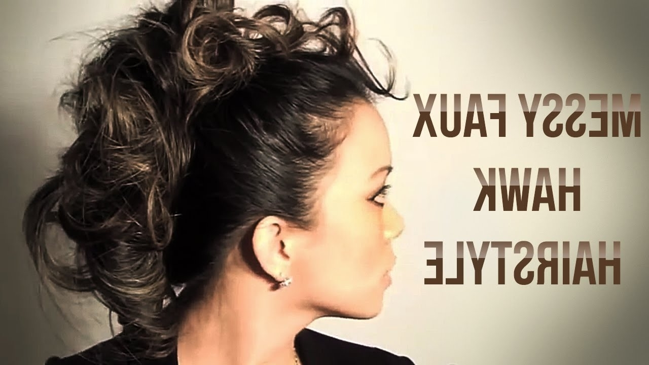 Messy Faux Hawk Hairstyle Tutorial – Youtube Intended For Preferred Fauxhawk Ponytail Hairstyles (View 8 of 20)