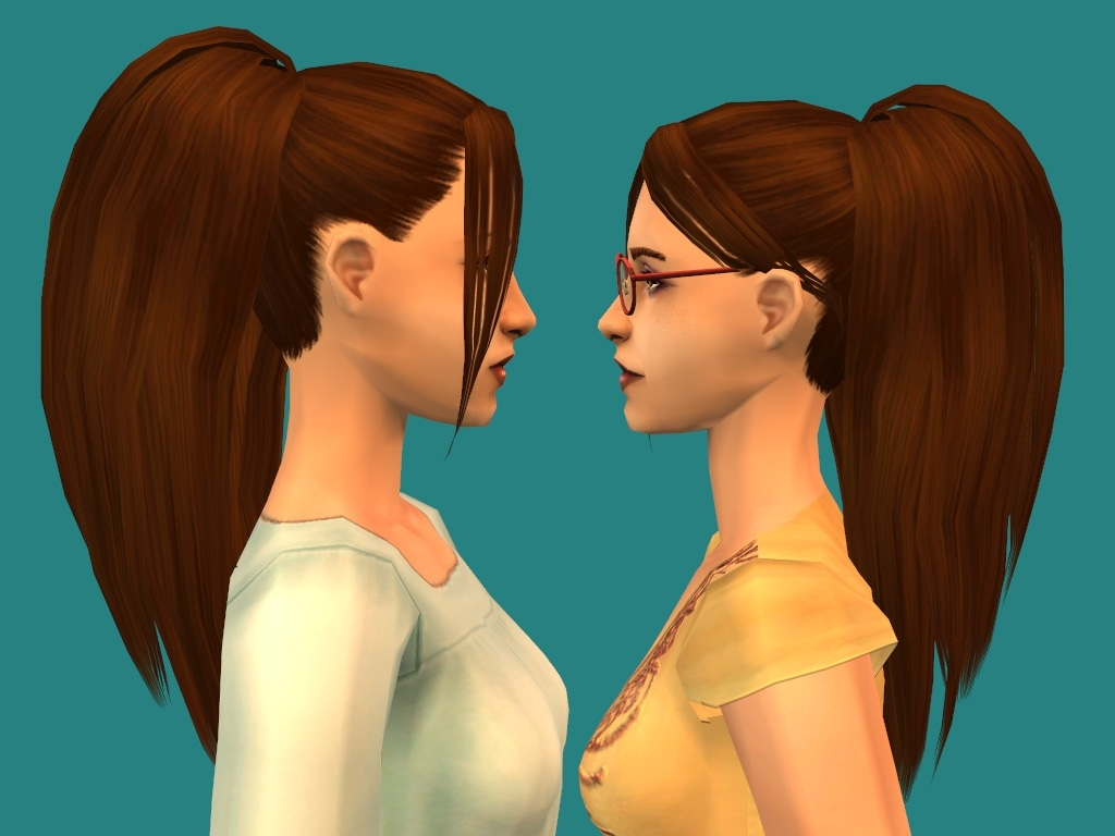 Mod The Sims – Nouk's Long Ponytail With Bangs Pertaining To Famous Mod Ponytail Hairstyles (View 16 of 20)