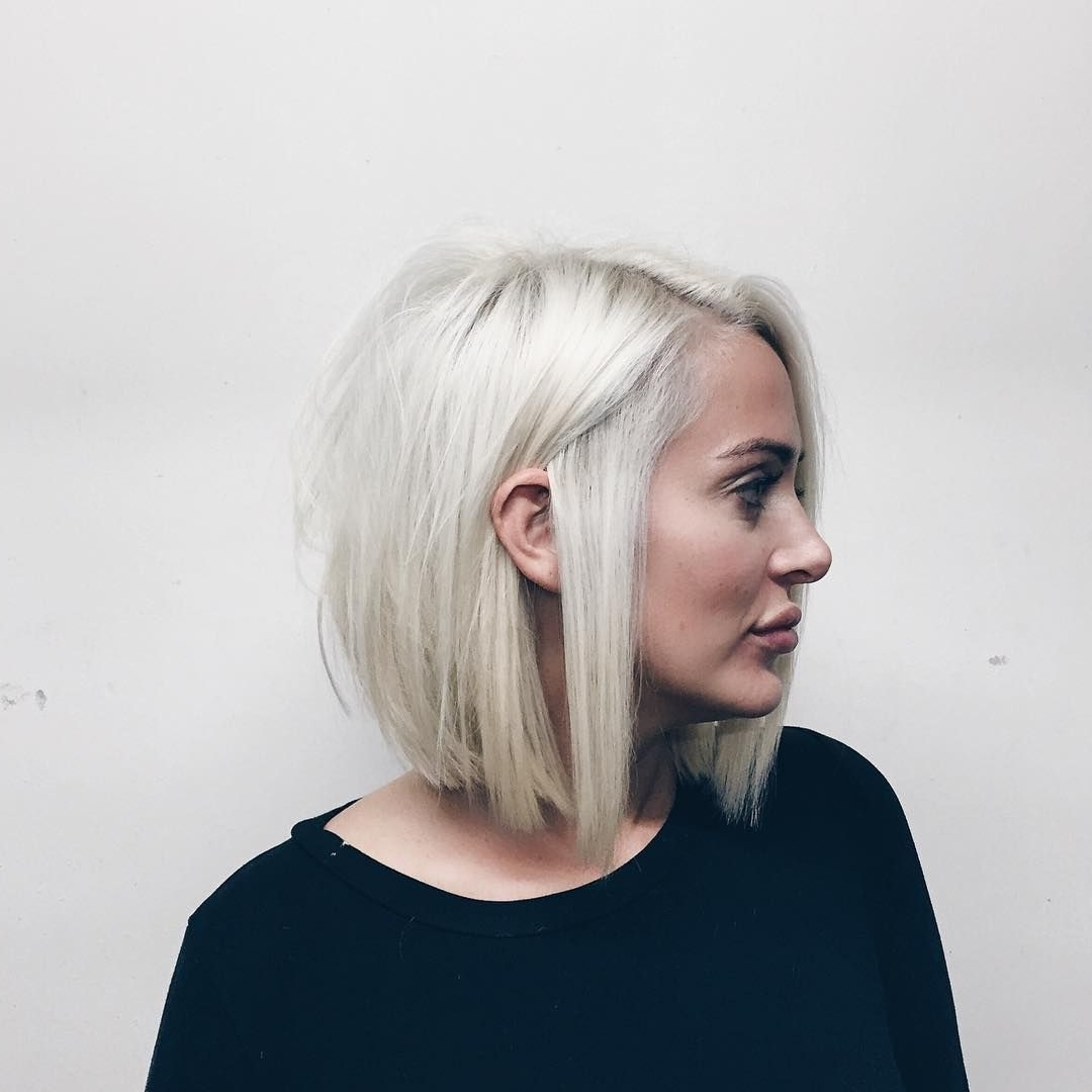 Most Current Blunt Cut White Gold Lob Blonde Hairstyles Inside Short + Sleek (View 15 of 20)