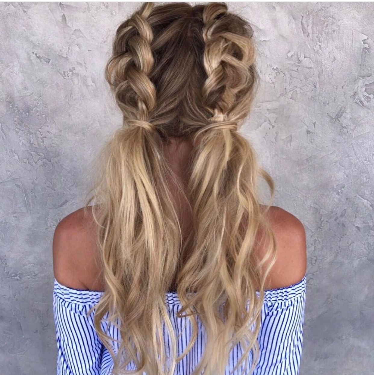 Most Current Braided Millennial Pink Pony Hairstyles For Half Dutch Braided Pigtails (View 11 of 20)