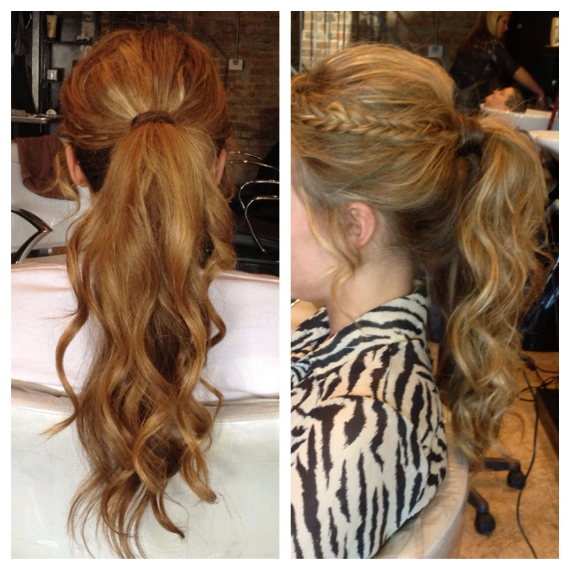Most Current Brunette Ponytail Hairstyles With Braided Bangs Pertaining To Homecoming / Prom Hairstyle – Curly Ponytail With Bangs Braided (View 2 of 20)