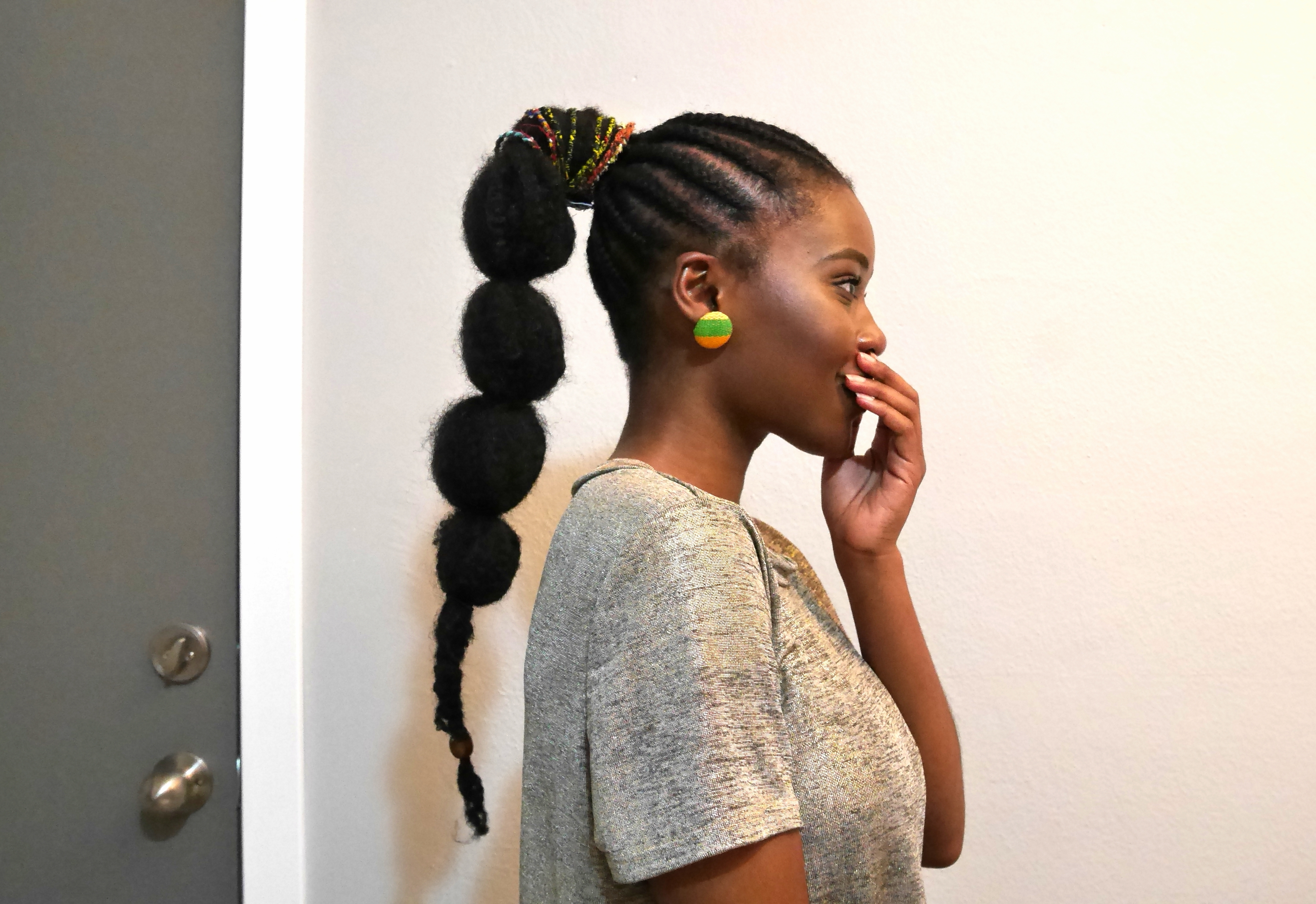 Most Current Cornrows Hairstyles For Long Ponytail For The Pom Pom Ponytail + Cornrows (View 16 of 20)