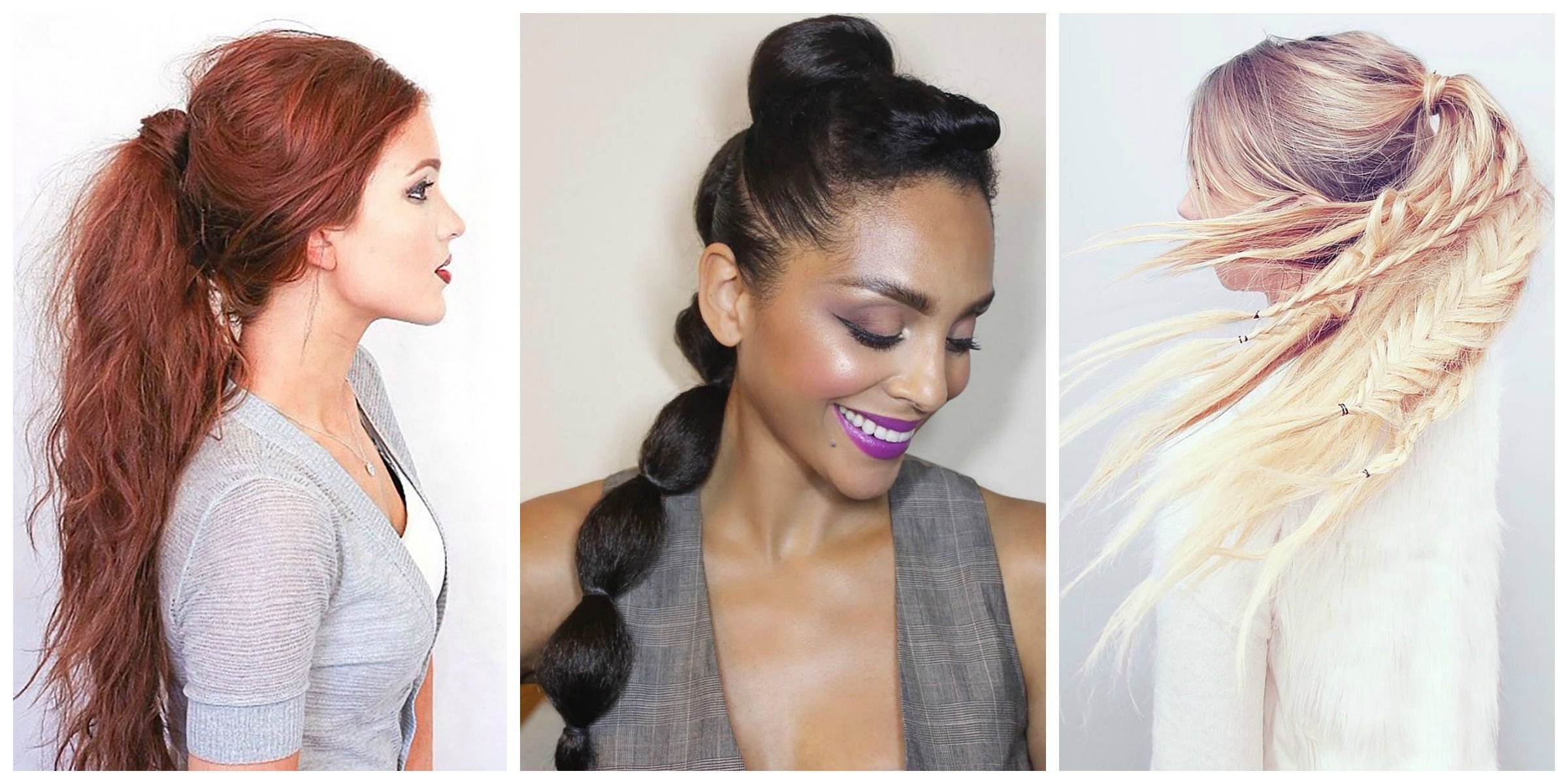 Most Current High Braided Pony Hairstyles With Peek A Boo Bangs Inside Ponytail Hairstyles – 5 Easy Ponytail Looks For The Work Week (View 14 of 20)