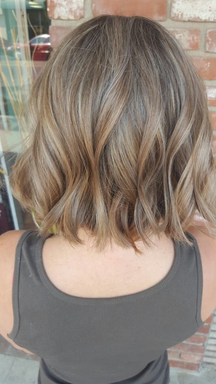 Most Popular Ash Blonde Lob With Subtle Waves Pertaining To Balayage Dark Blonde Beach Blonde Short Textured Bobstacy Pope (View 8 of 20)