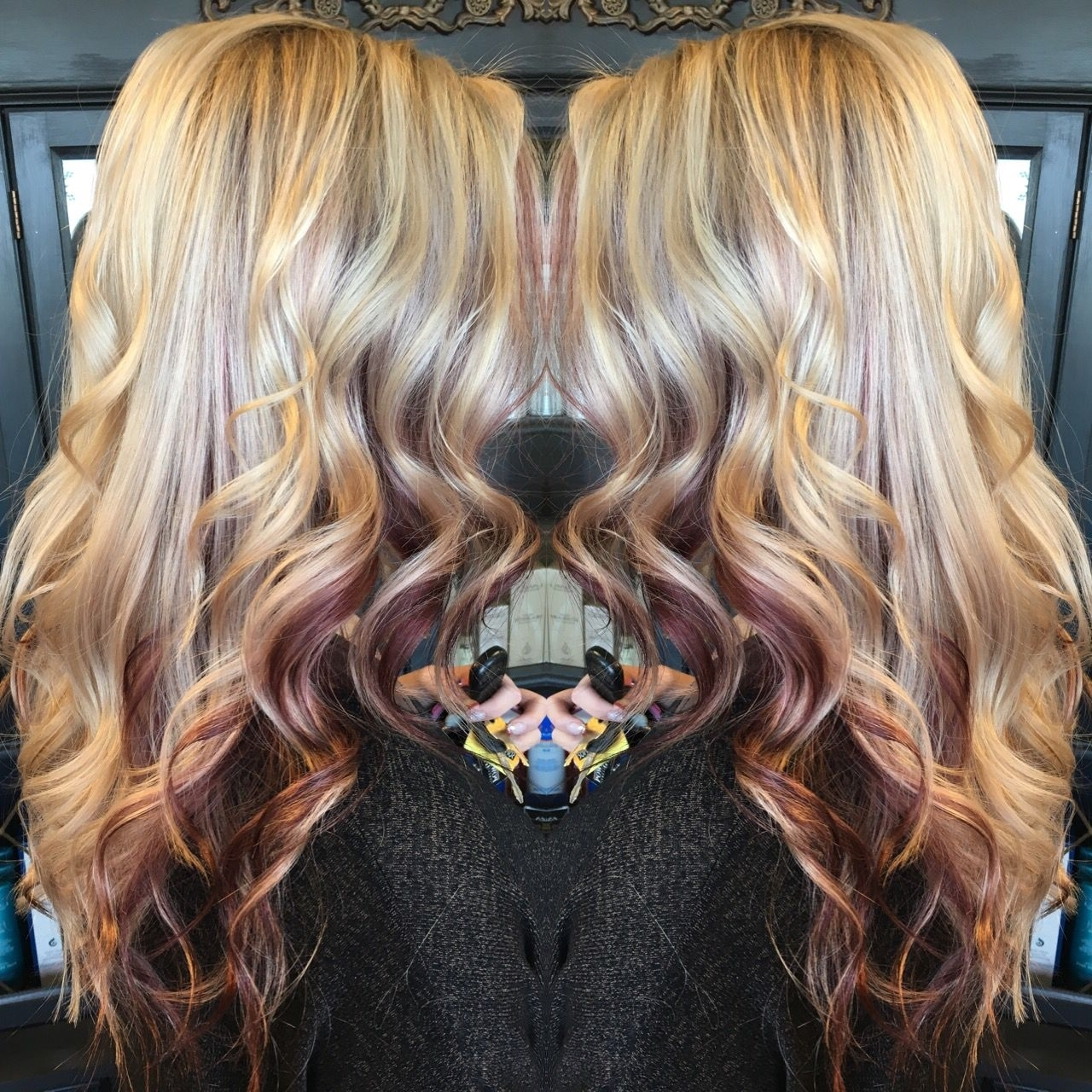 Most Popular Browned Blonde Peek A Boo Hairstyles Pertaining To Lanza Haircolor. Blonde With Peekaboo Red Pieces. Highlights (View 14 of 20)