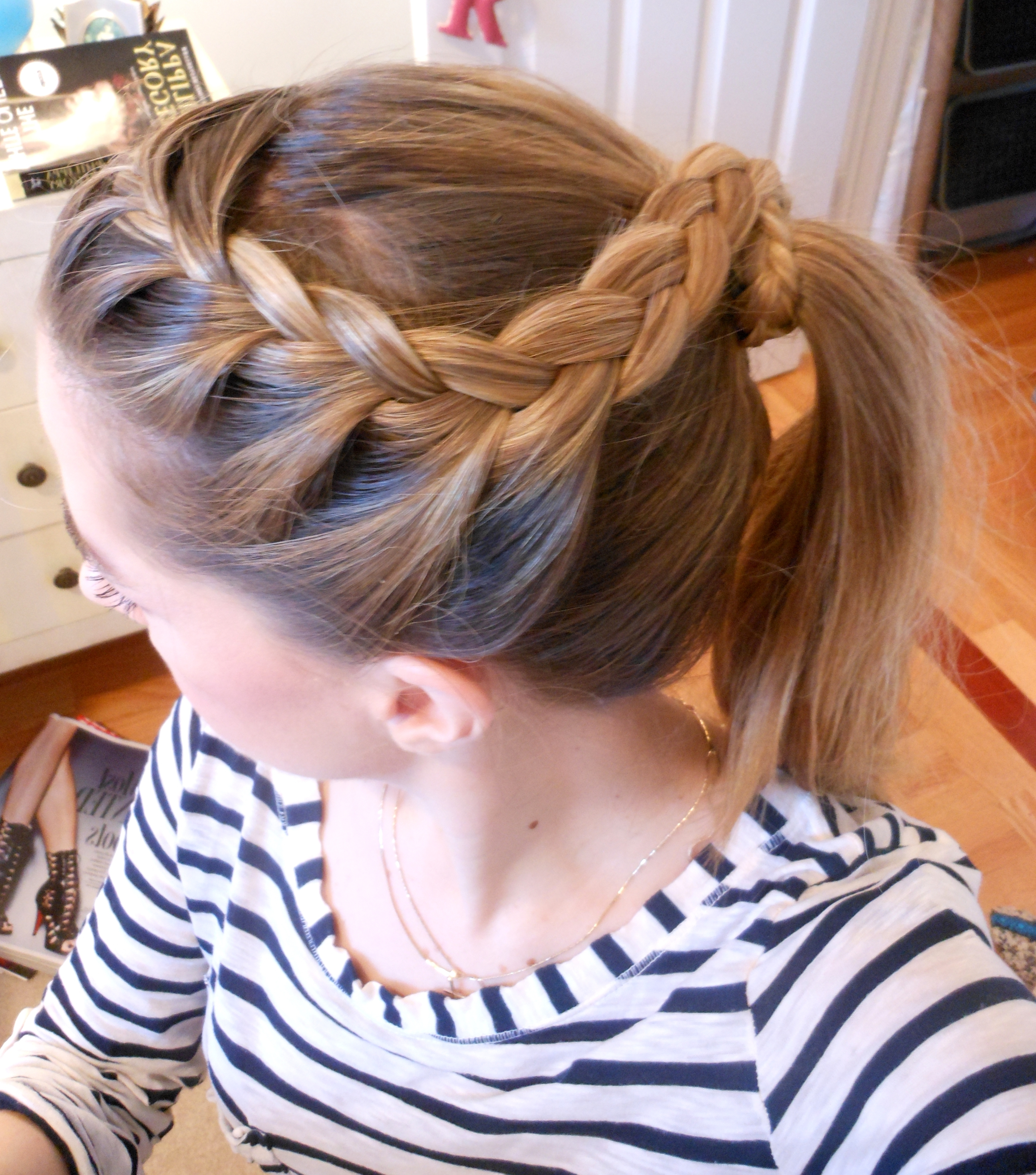 Most Popular French Braids Pony Hairstyles Inside Hairstyle From Three Angles: Crown Braid Ponytail (View 14 of 20)